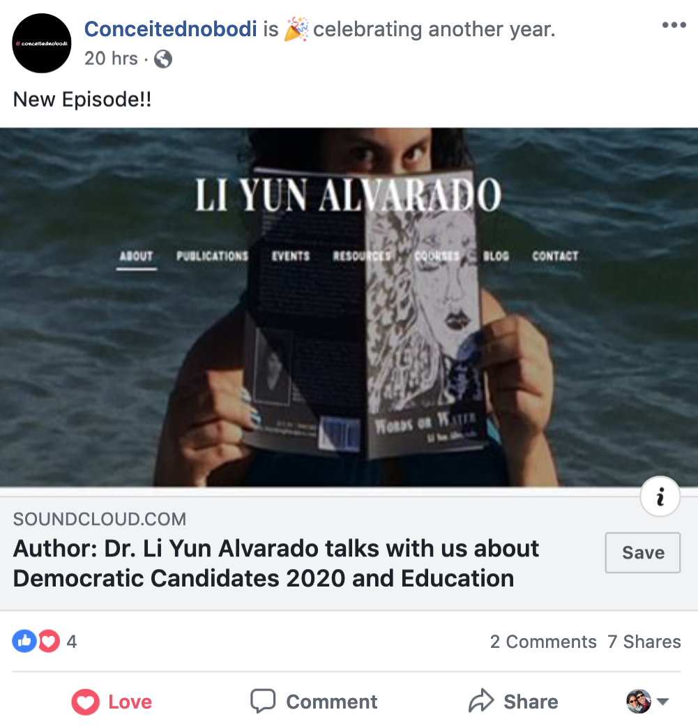 Image of a Facebook post announcing a new #conceitednobodi podcast episode. Image features a screenshot of liyunalvarado.com which has a picture of Li Yun Alvarado holding a copy of her poetry collection: Words or Water.